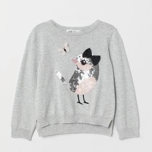 H&M gray sweater with sequined bird print
